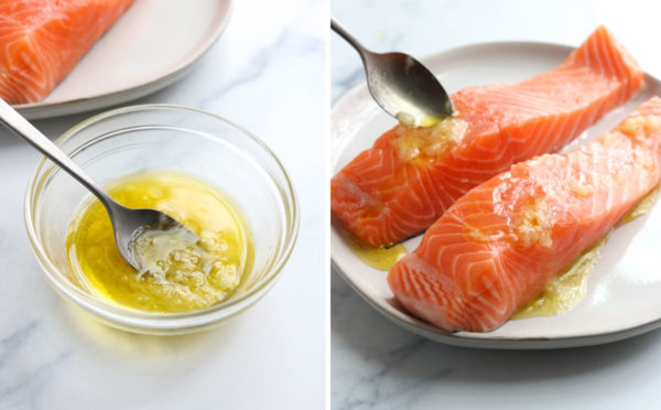 lemon garlic oil spooned over salmon