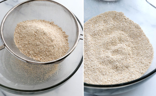 sifted oat flour in large bowl