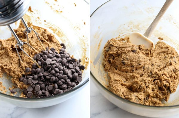 chocolate chips added to the mixed cookie dough