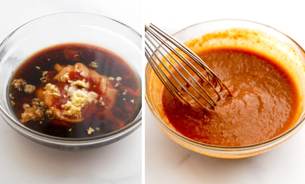 peanut sauce ingredients in glass bowl