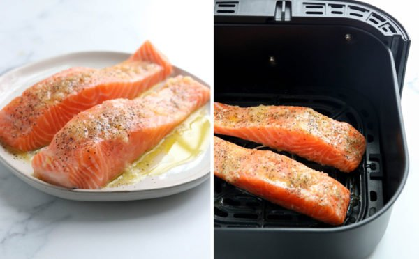 seasoned salmon on air fryer basket
