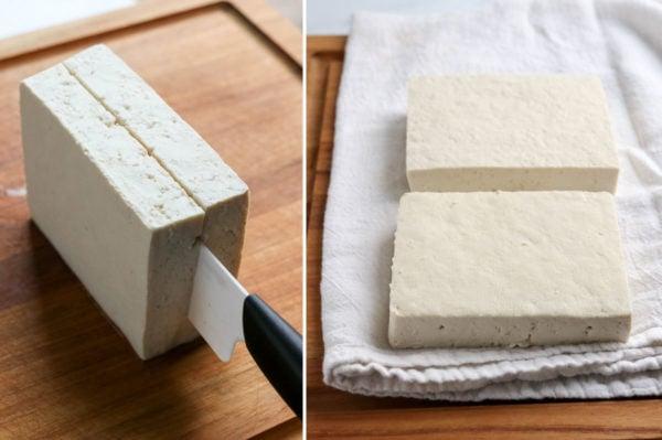 tofu sliced in half