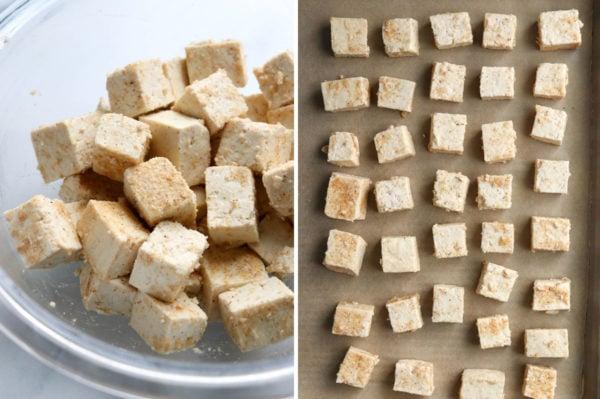 seasoned tofu spread out on baking sheet