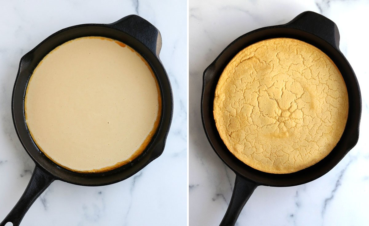before and after of baked socca in pan