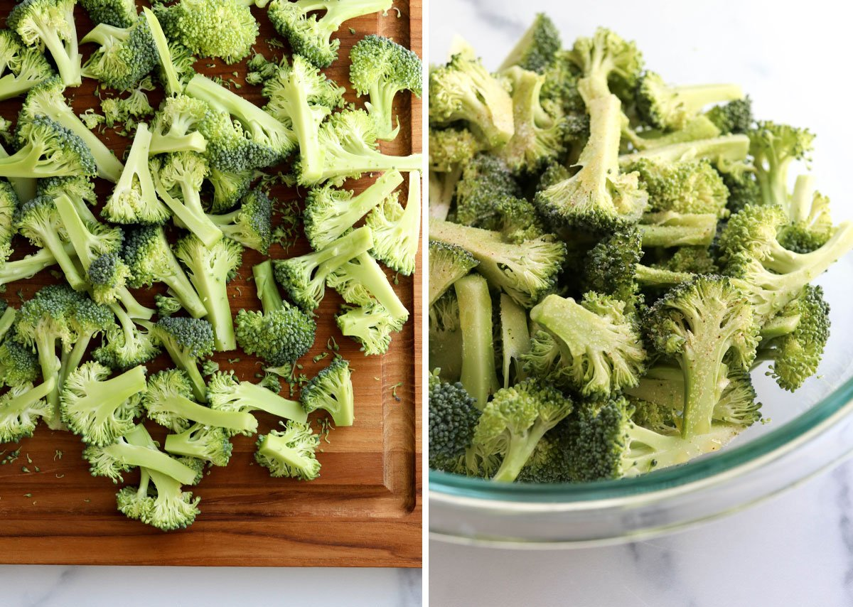 broccoli cut into small pieces and seasoned in bowl