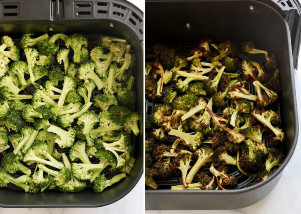 broccoli before and after cooking in air fryer basket