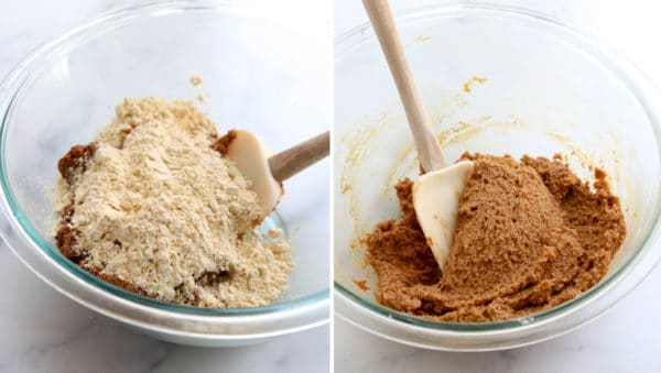 mixing together the chickpea cookie batter
