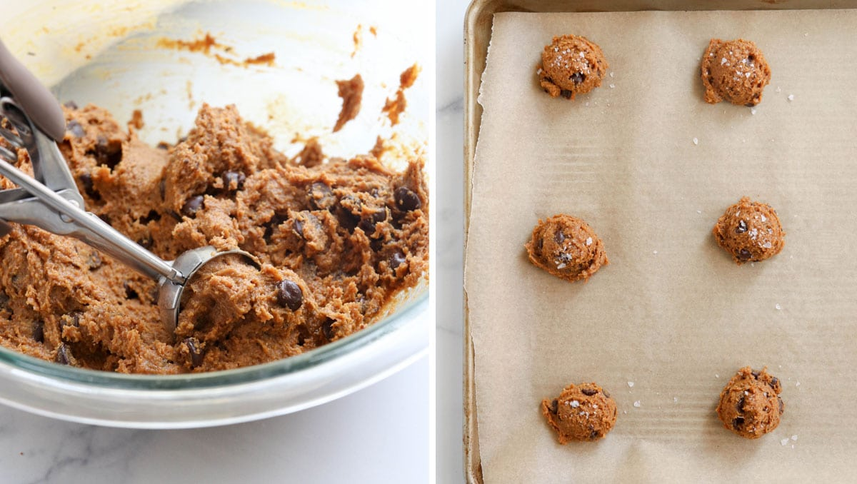 scooping the cookie dough onto a lined baking sheet
