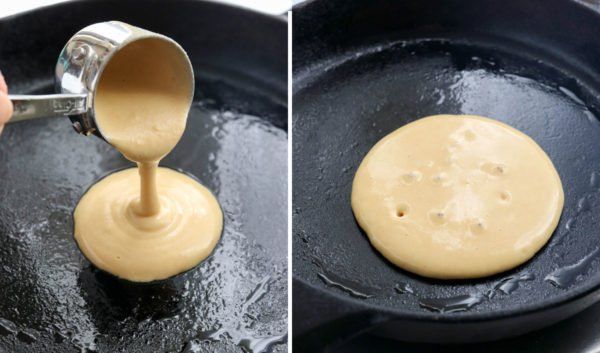 batter poured into skillet with bubbles forming in center