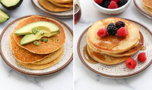 chickpea pancakes topped with sweet and savory toppings