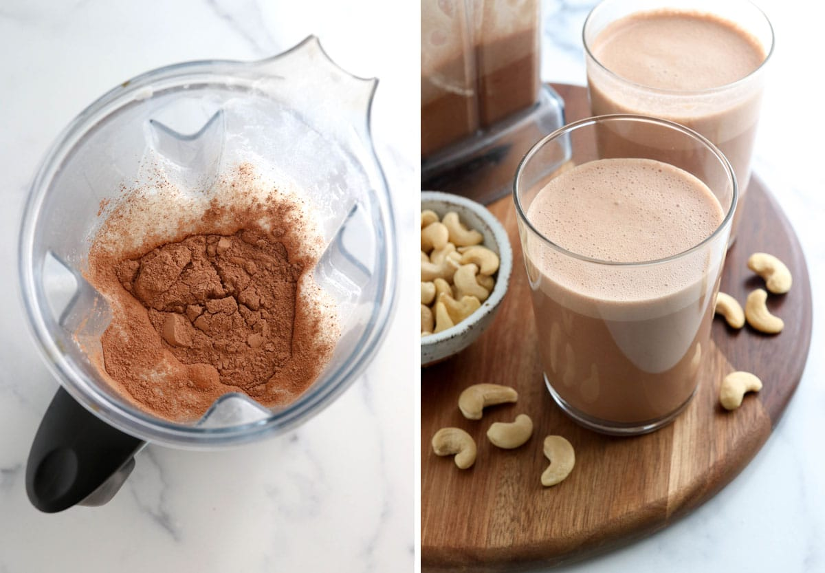 chocolate cashew milk in two glasses