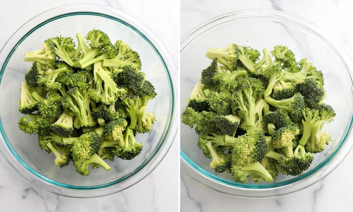 cut broccoli in glass bowl