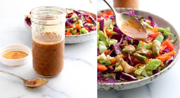finished peanut dressing poured over salad