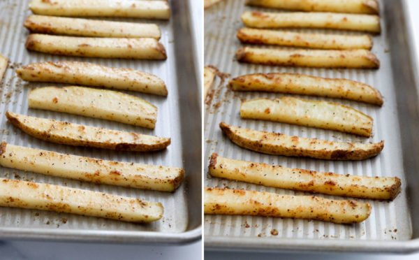 fries on baking sheet for first round of cooking