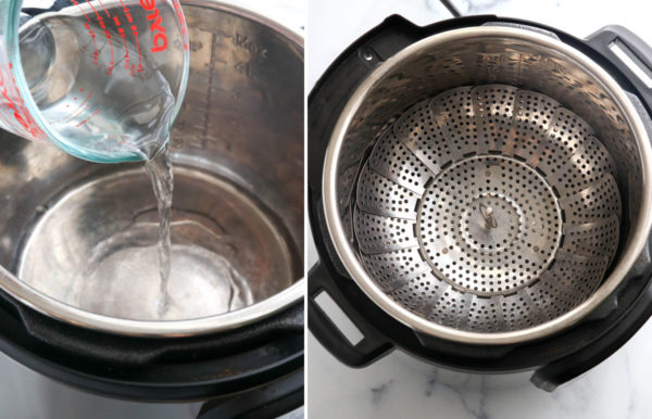 water and steamer basket added to instant pot