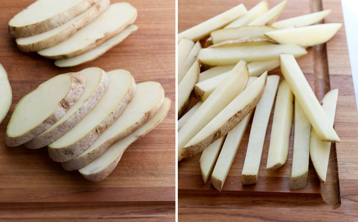 potatoes sliced for french fries