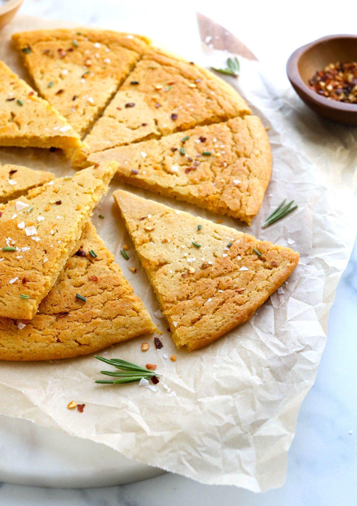 socca bread sliced into triangles