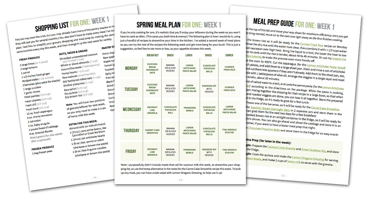 meal plan sample pages