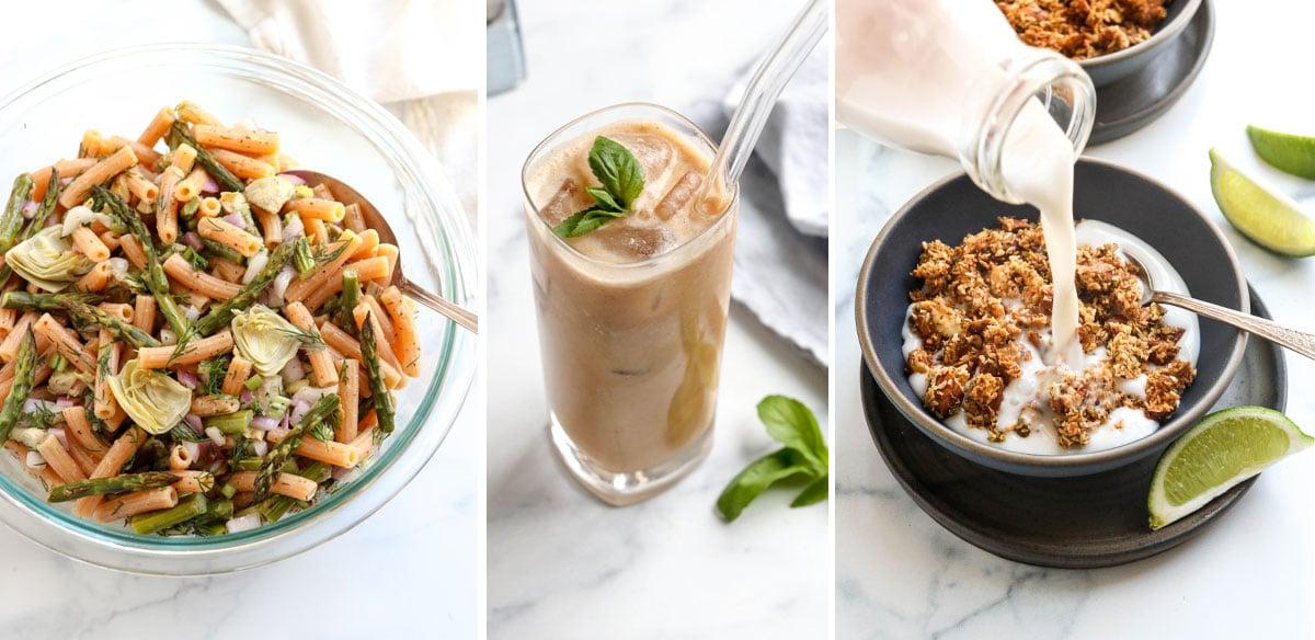 pasta salad thai iced tea and granola with milk