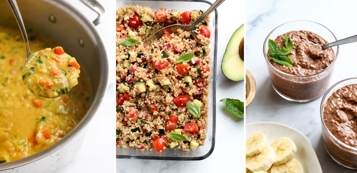 soup quinoa salad and chia pudding photos from the spring reset