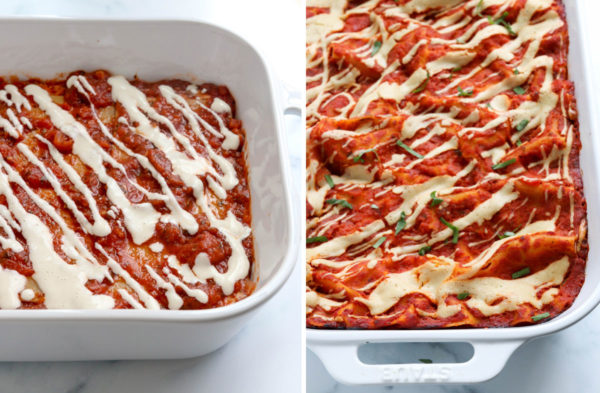 vegan lasagna before and after being baked
