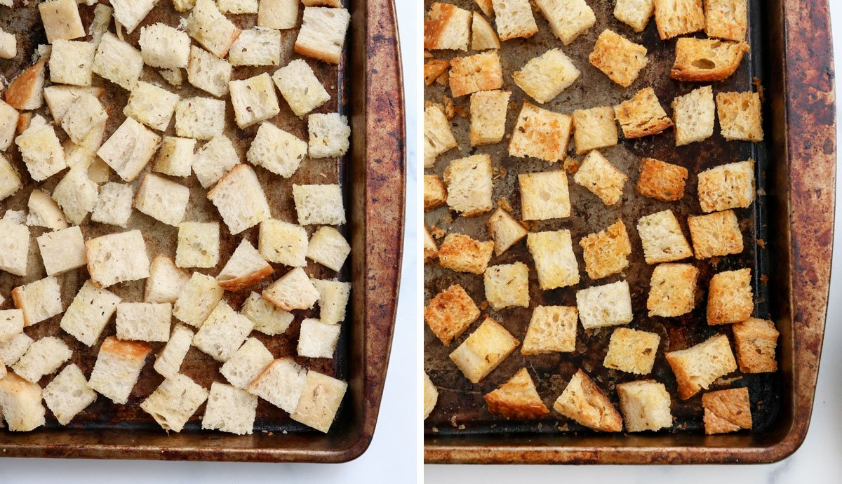 croutons on a pan before and after baking