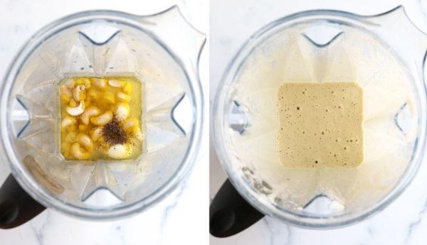 vegan caesar dressing ingredients in blender