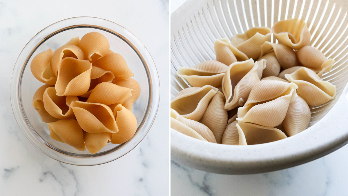 jumbo shells dry and cooked