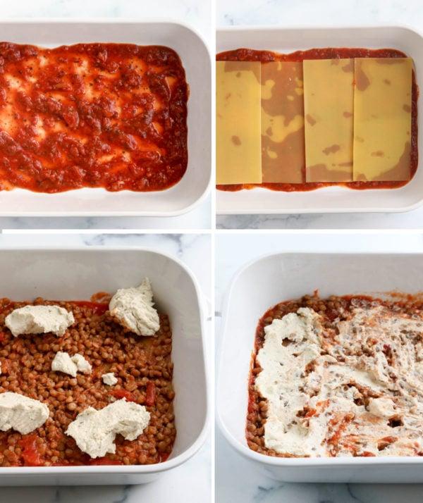 vegan lasagna layers assembled