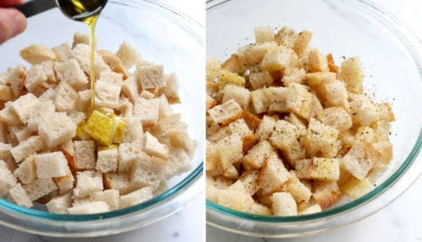 olive oil and seasonings added to croutons in bowl