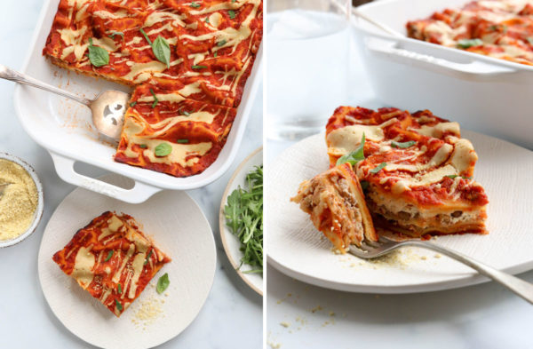 finished lasagna sliced and served on plate