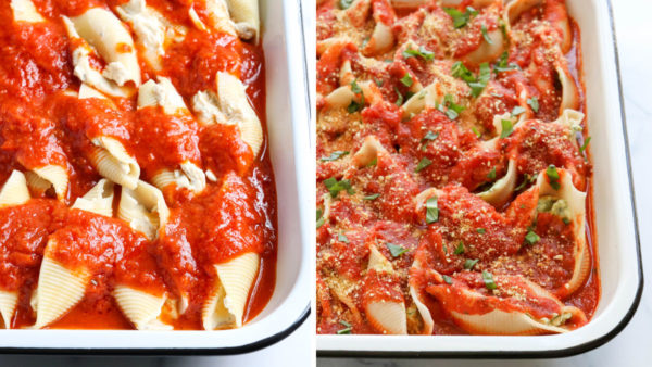 shells topped with marinara and baked