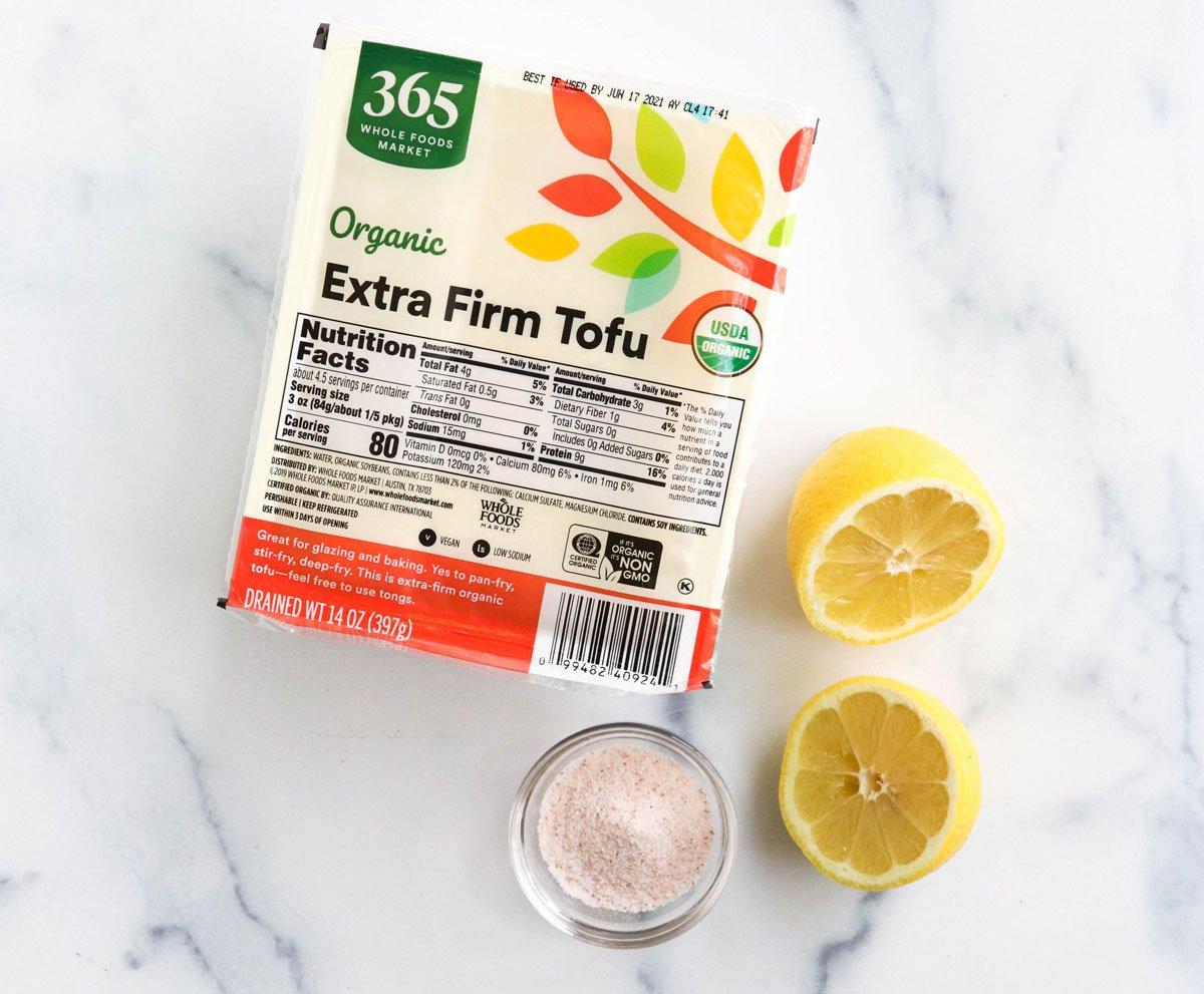 tofu ricotta ingredients on marble surface