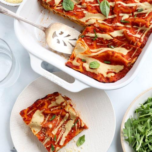 vegan lasagna sliced in pan