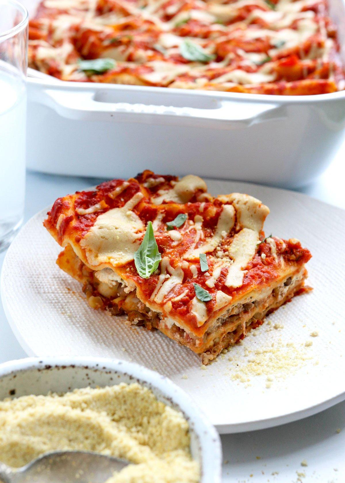 vegan lasagna slice on plate
