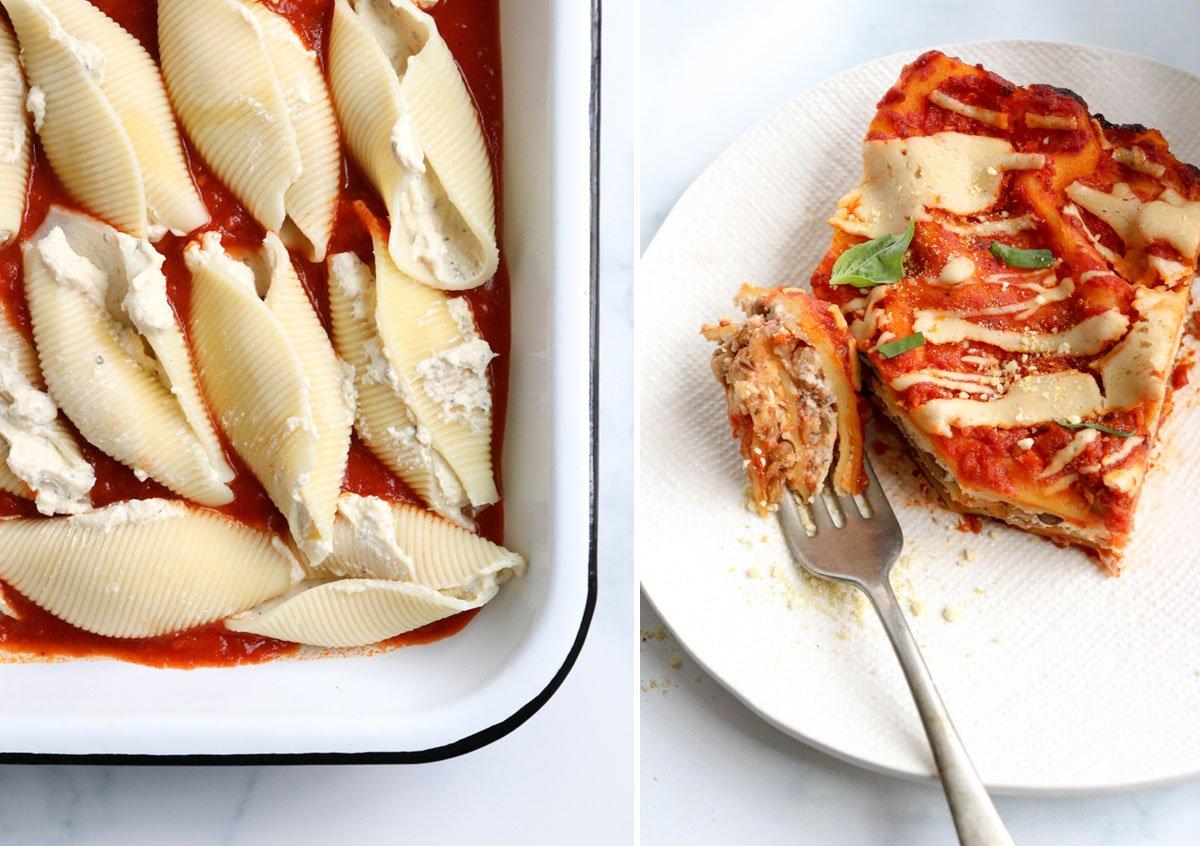stuffed shells and vegan lasagna