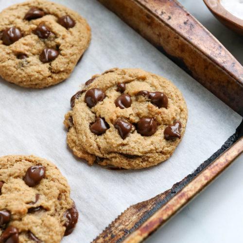 almond flour cookies on pan at angle