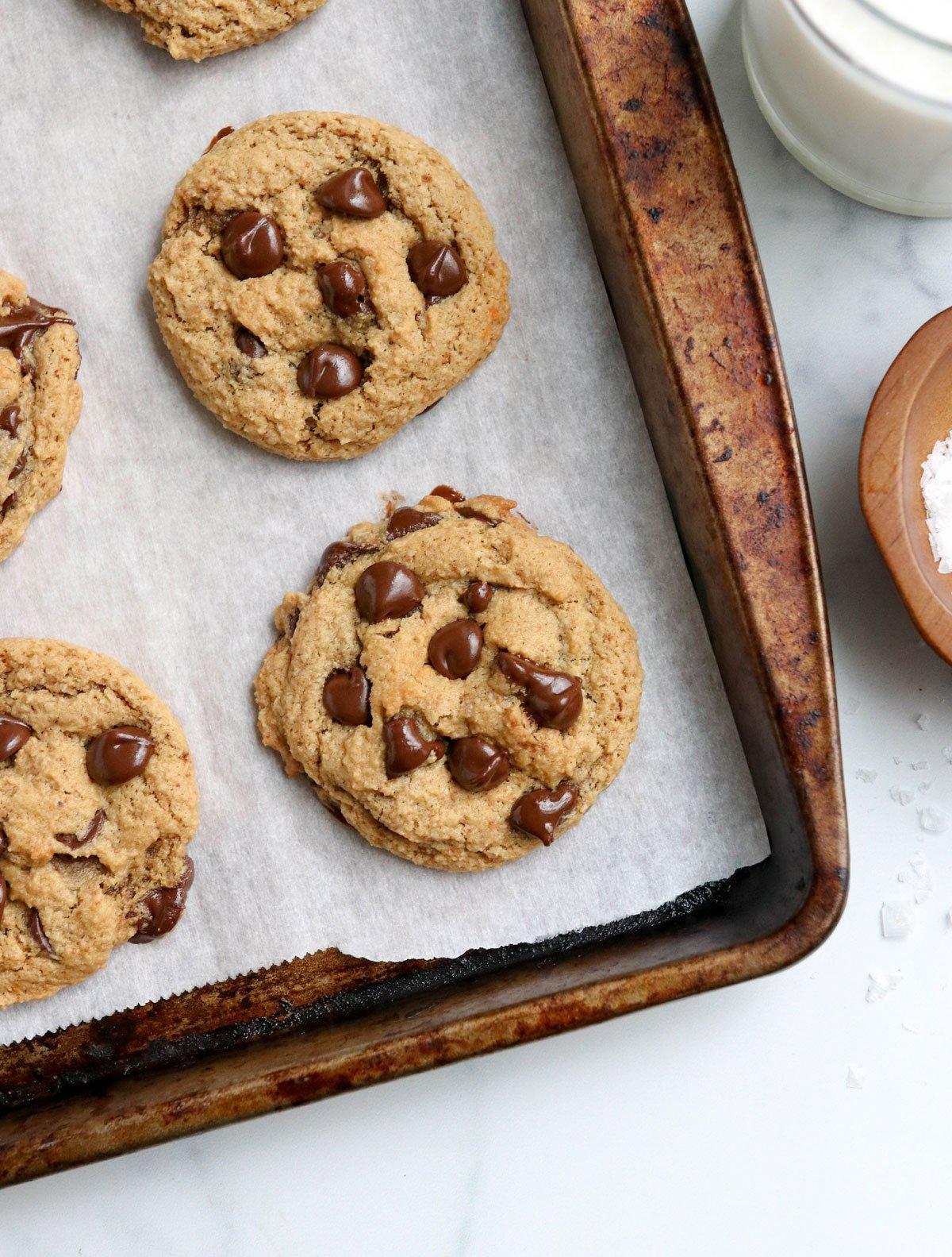 almond flour cookies on baking sheet