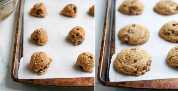 baked cookie dough on baking sheet