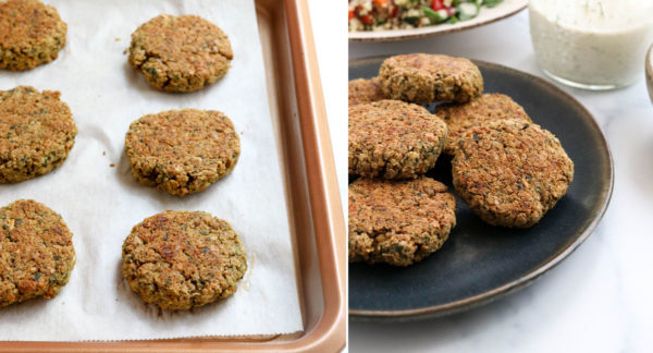 finished falafel on pan and on serving plate