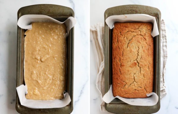 banana bread added to loaf pan and baked