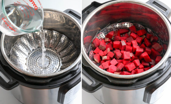 water poured into instant pot with beets