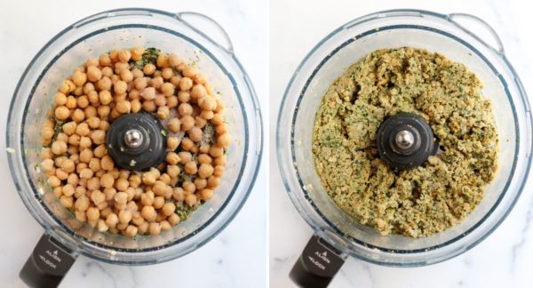 chickpeas and shallot added and pulsed in food processor