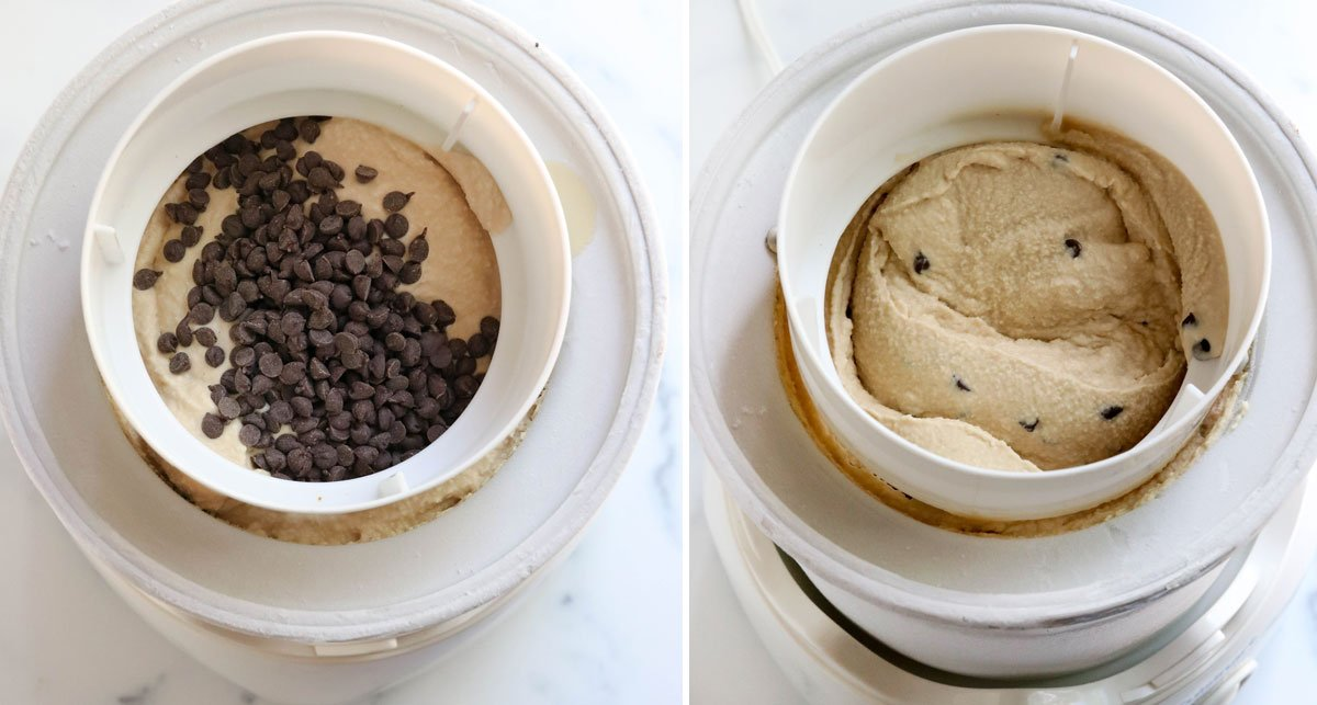 chocolate chips added to ice cream