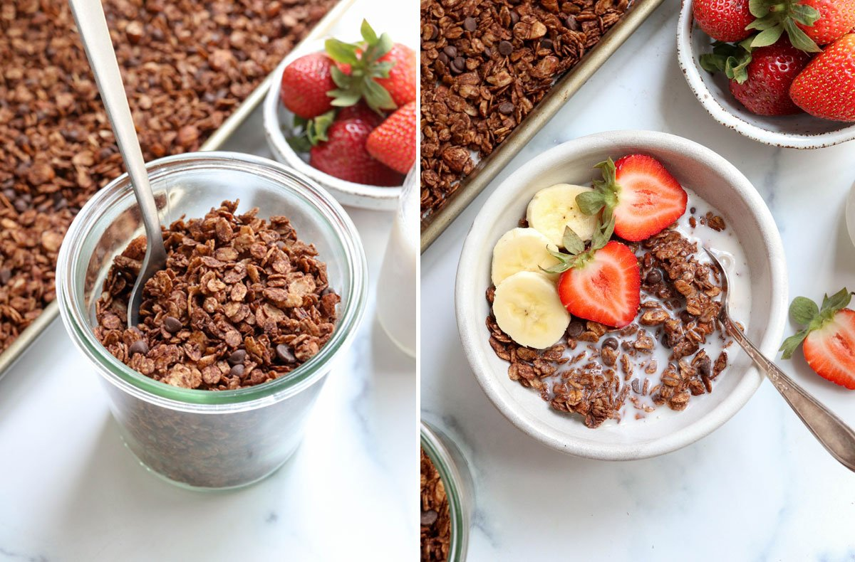 finished granola in jar and in bowl with milk