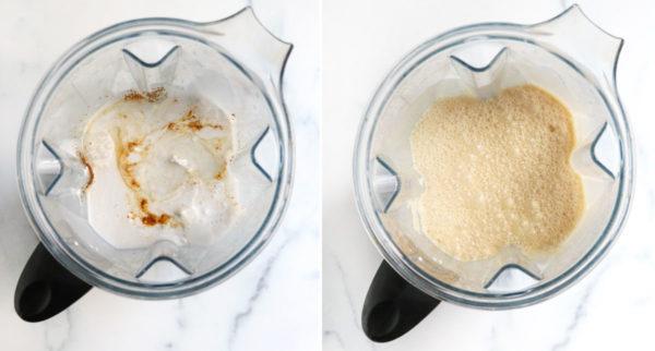 vegan mint ice cream ingredients in blender