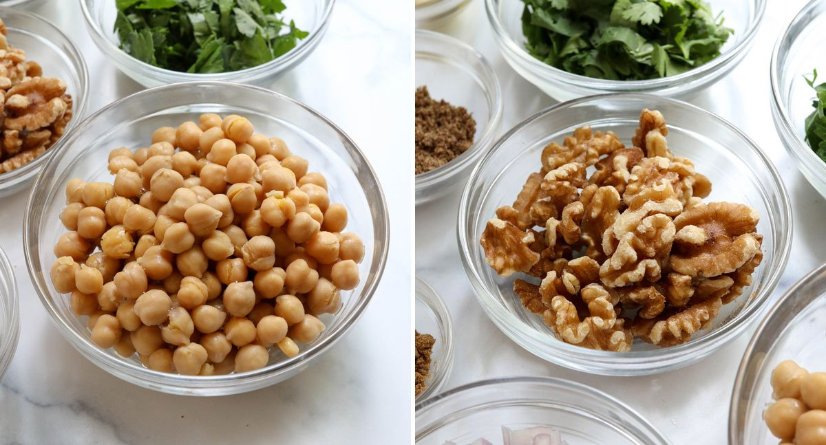 bowl of chickpeas and walnuts