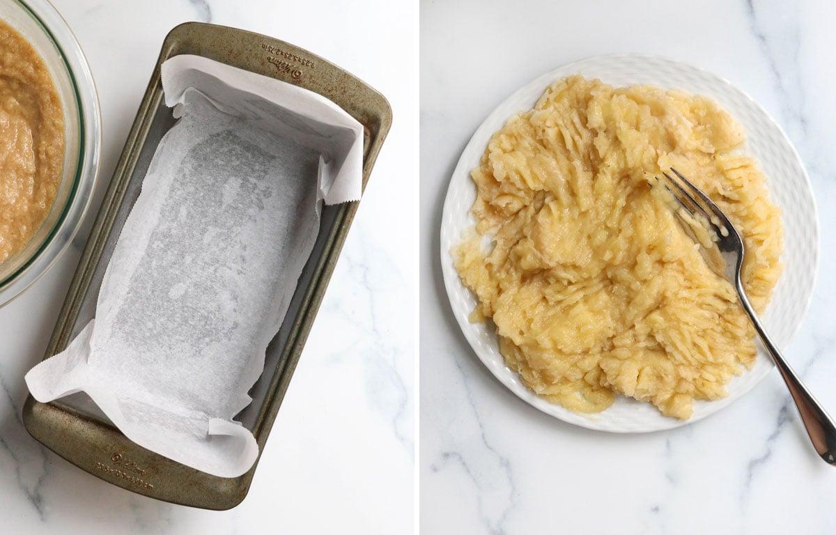 prepared pan and mashed banana on plate