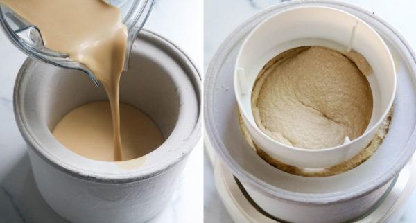 ice cream mixture poured into machine