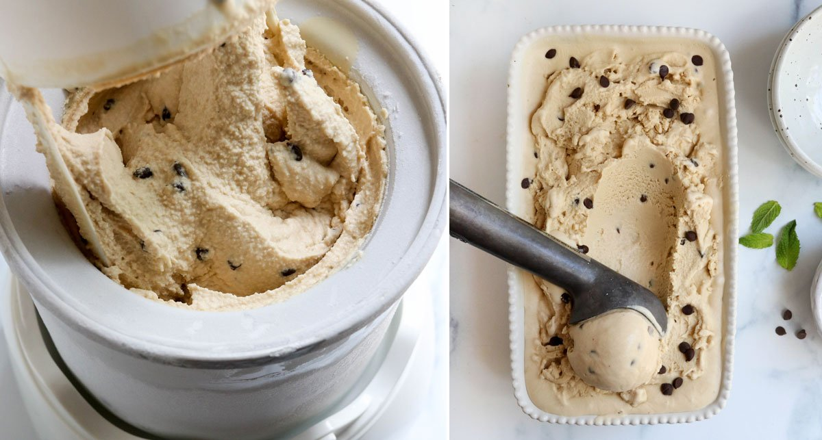 ice cream scooped from pan